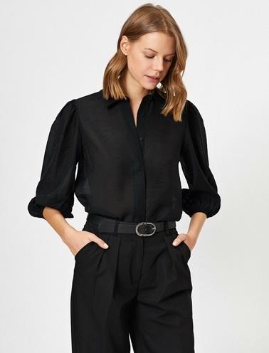 Koton Klasik Yaka Gömlek Siyah
